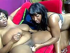 Lesbo secretaries skip on big dildo