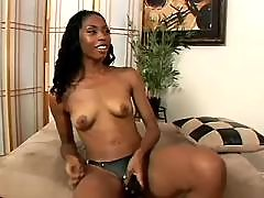 Yummy black lesbians caress each other
