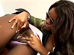 Sweet black lesbian babes eat out pussies