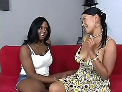 Cute black lesbian angels eat out pussies